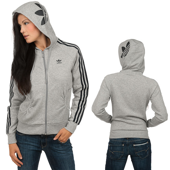 Adidas Girly Fleece Zip Hoody / Grey