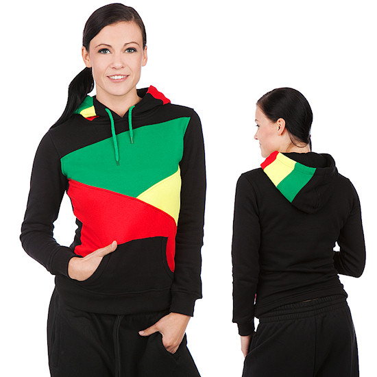Classics Ladies Zig Zag Hoody / Black-Rasta