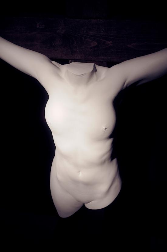 Plaster Sculpture by Juno: Female Jesus on the Cross