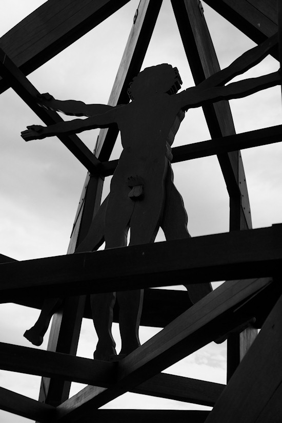 Vitruvian Man Sculpture in Vinci, Italy
