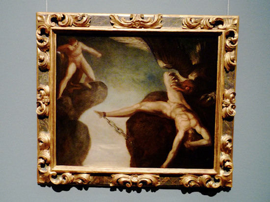 Nude Men: Johann Heinrich Füssli. Hercules Slays the Eagle of Prometheus. Oil on canvas, 1781-85.
