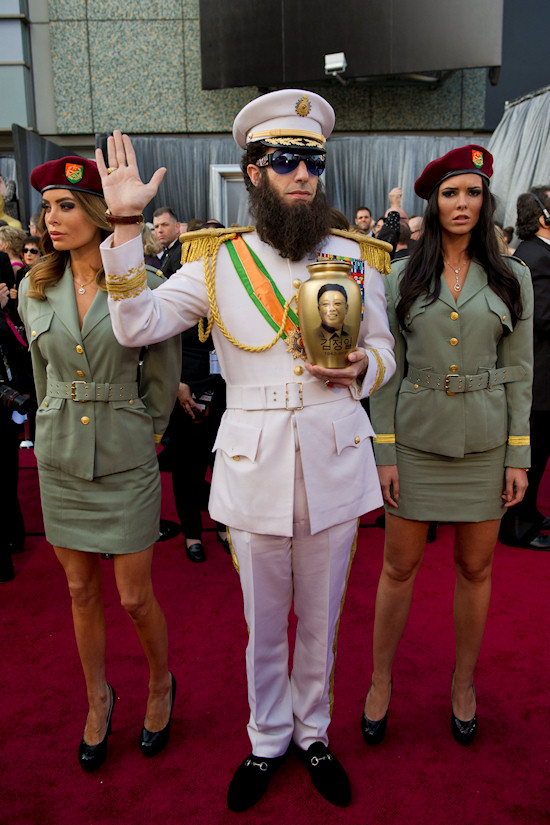 Oscars 2012: Sacha Baron Cohen as The Dictator with female bodyguards