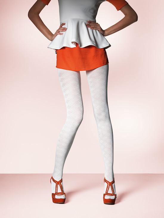 Palmers White Rautress Pantyhose with diamond pattern