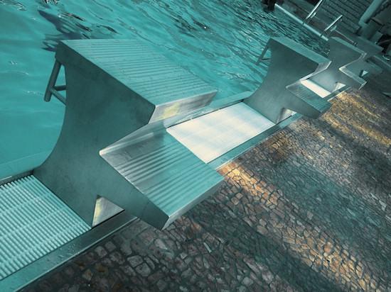 Schönbrunnerbad: Starting blocks at the pool