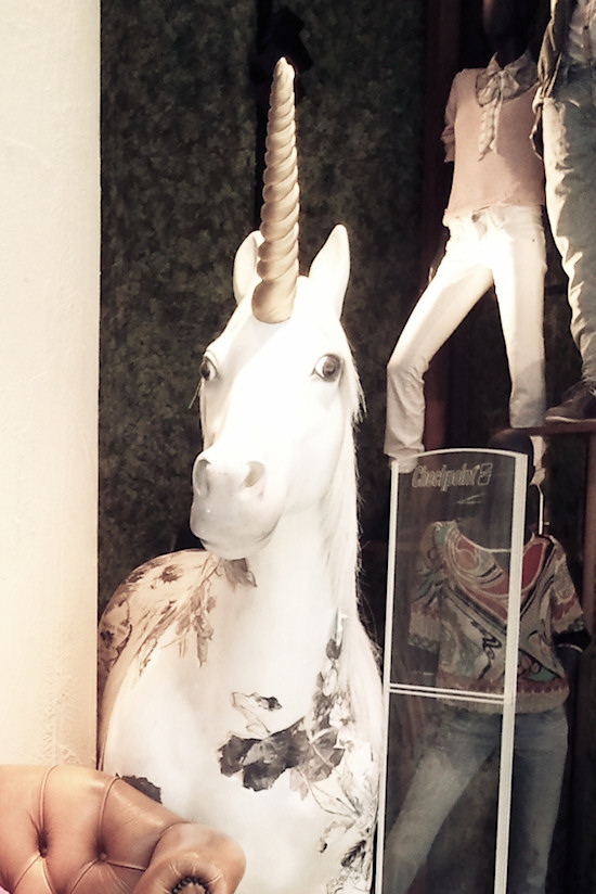 A unicorn at the entrance of the s.Oliver fashion store in Vienna Mariahilfer Straße.