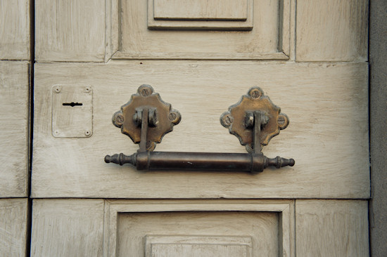 Vinci, Italy: A wooden door