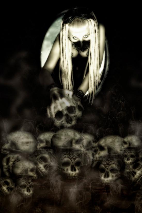 Ancalime Gothic Fantasy Photo: Model Mjumju Mau Mau above a pile of skulls