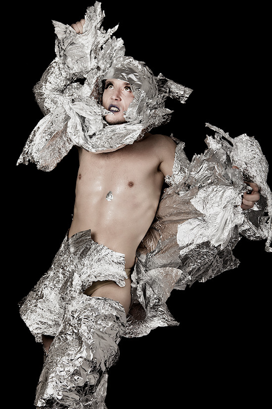 Ancalime Photo Male Model Lion wrapped in silver paper