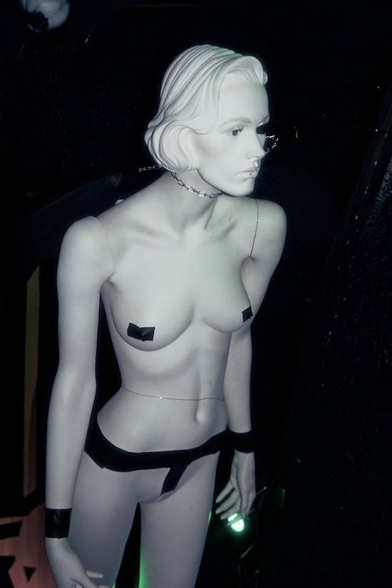 Female Black Angel Mannequin in duct taped underwear