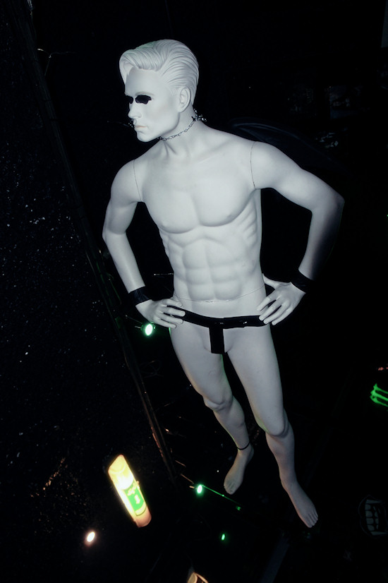 Male Black Angel Mannequin in duct taped underwear