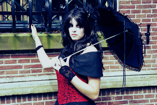 Gothic Outfit with Black Umbrella @ Castlefest