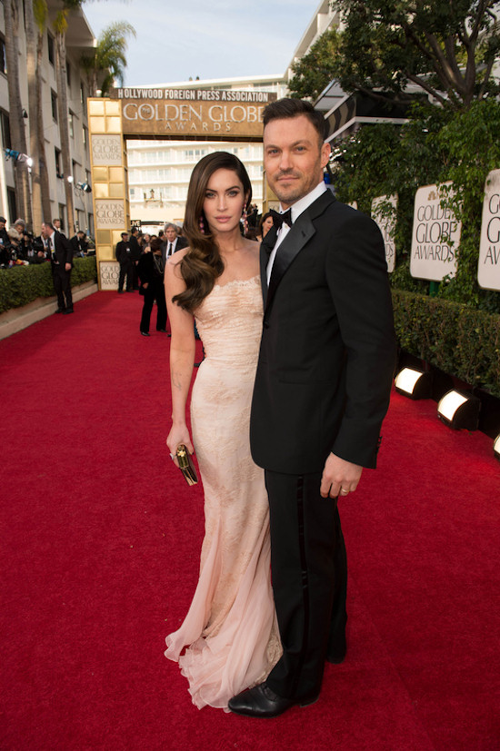 Golden Globes 2013: Megan Fox in a strapless Dolce & Gabanna dress with Brian Austin Green.