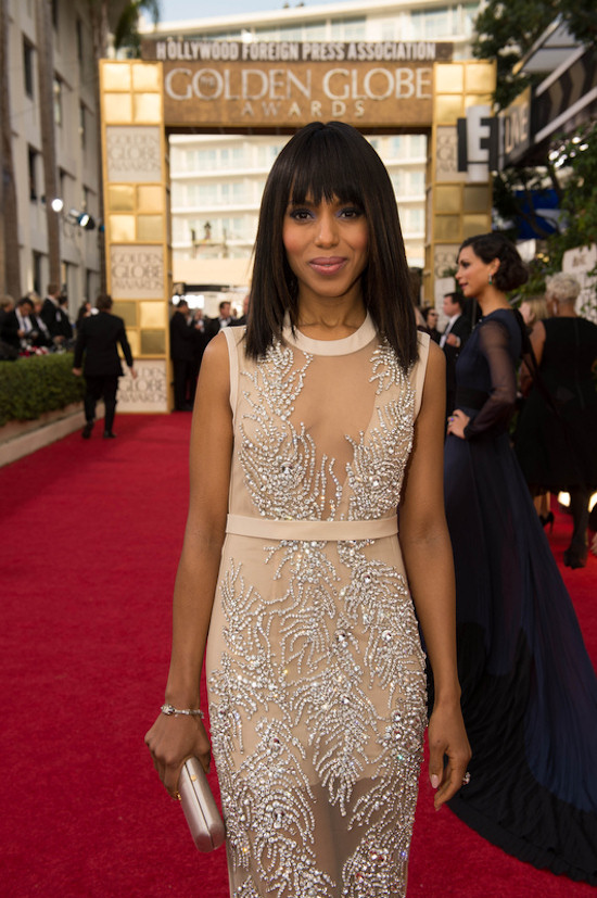 Golden Globes 2013: Kerry Washington in a nude-colored, semitransparent, hand-embroidered with Swarovski crystals dress by Miu Miu.