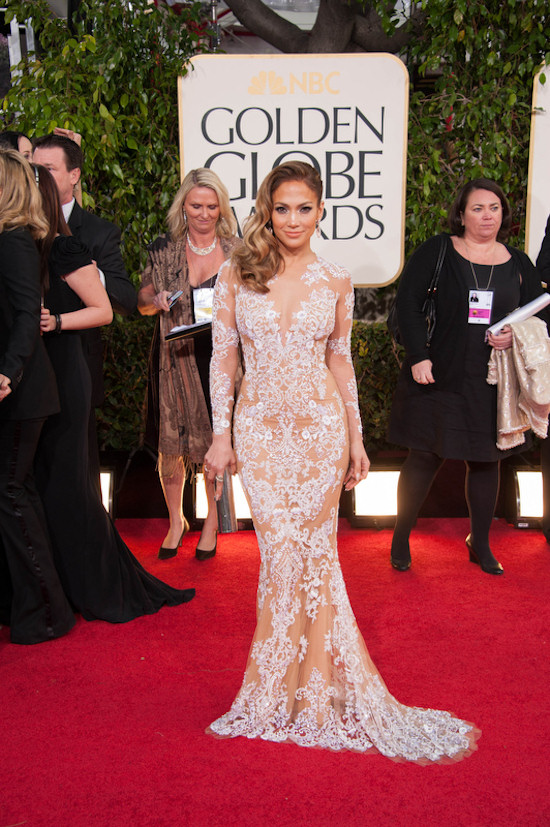 Golden Globes 2013: Jennifer Lopez in a nude-colored, semitransparent dress by Zuhair Murad.