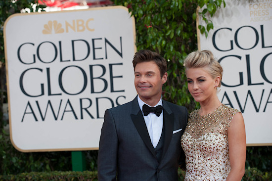 Golden Globes 2013: Ryan Seacrest and Julianne Hough in a golden glitter gown by Monique Lhuillier