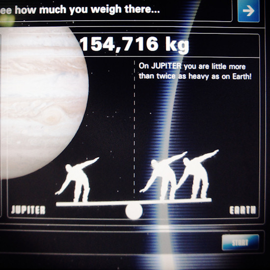 Gravitation: How much I weigh on Jupiter. Screenshot Space Expo Noordwijk.