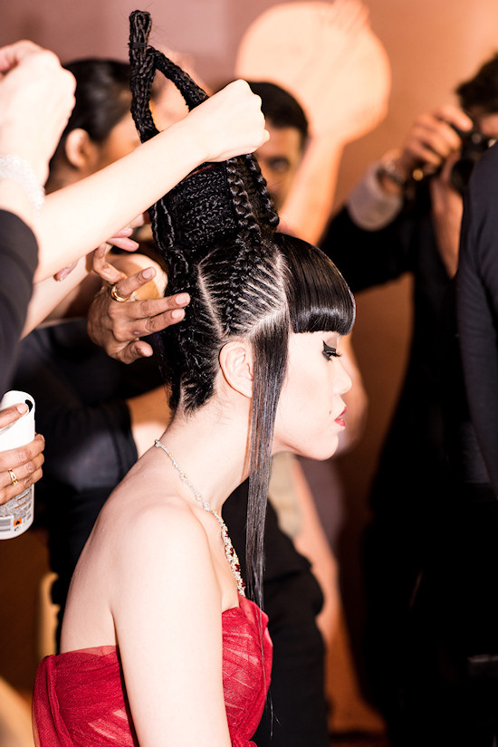 Jessica Minh Anh's hairstyle backstage on Costa Atlantica