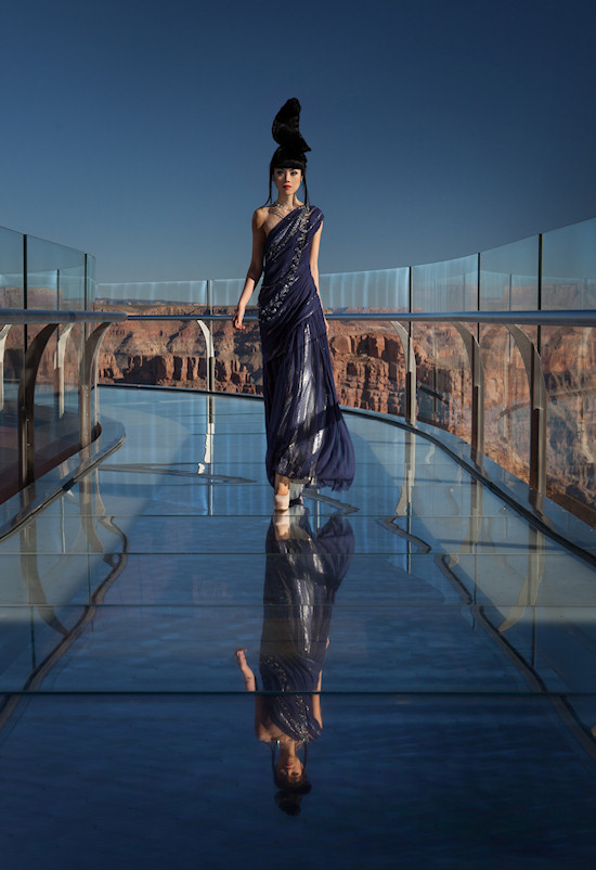 Model Jessica Minh Anh on the Grand Canyon Skywalk