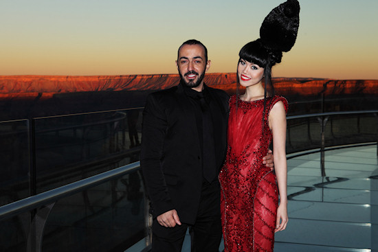 Model Jessica Minh Anh and celebrity designer Ziad Nakad on the Grand Canyon Skywalk