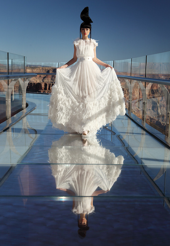 Model Jessica Minh Anh in Joana Montez & Patricia de Melo Fashion on the Grand Canyon Skywalk