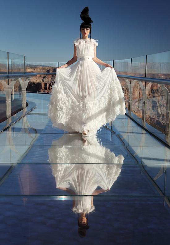 Model Jessica Minh Anh in Joana Montez & Patricia de Melo Fashion on the Grand Canyon Skywalk