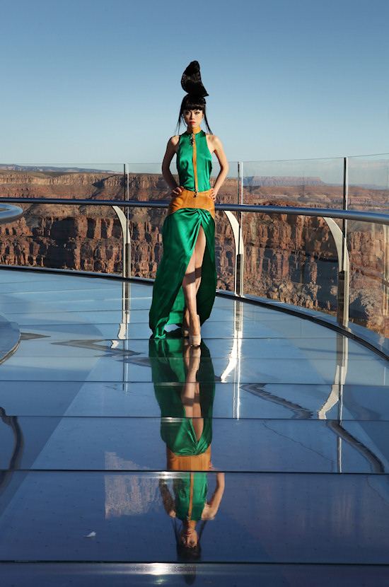 Model Jessica Minh Anh in Nina Athanasiou Fashion on the Grand Canyon Skywalk
