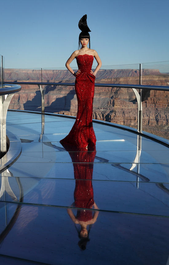 Model Jessica Minh Anh in Ziad Nakad Fashion on the Grand Canyon Skywalk