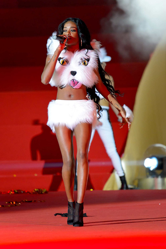 Azealia Banks in cat outfit @ Life Ball 2013