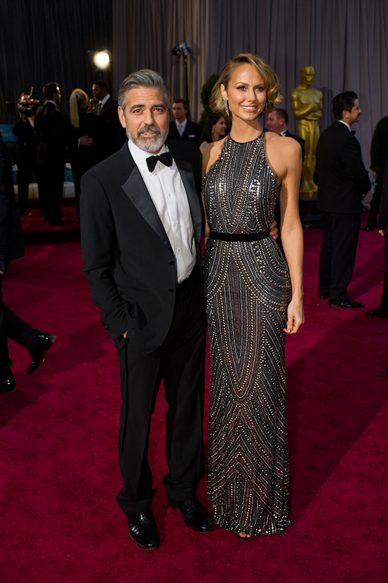 George Clooney and Stacey Keibler @ Oscars 2013 Red Carpet