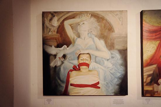Surreal Painting Jolanda Richter: Dein sanftes Wort / Your gentle word, Oil on canvas, 100x100 cm, 2011