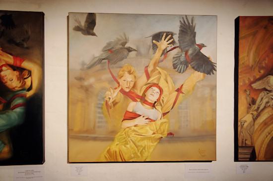 Surreal Painting Jolanda Richter: Sans souci / No Worries, Oil on canvas, 100x100 cm, 2012