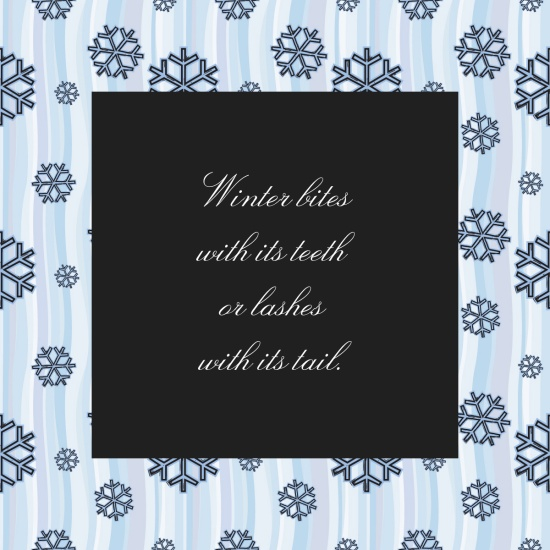 Winter bites with its teeth or lashes with its tail – Proverb