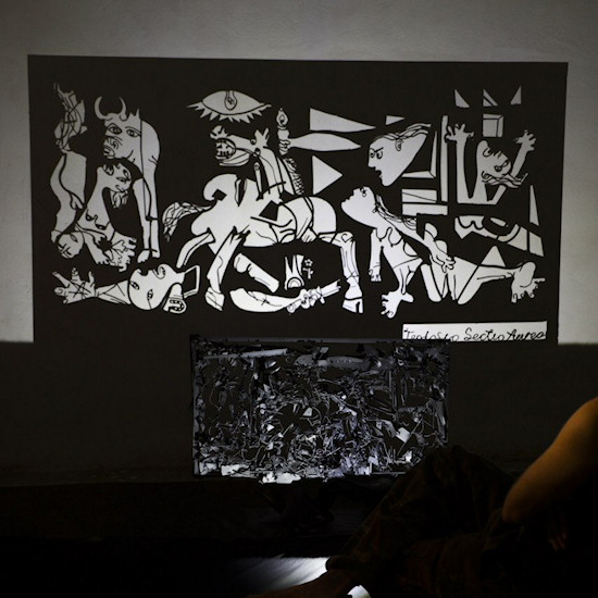 Shadow Art by Teodosio Sectio Aurea of Pablo Picasso's famous painting Guernica