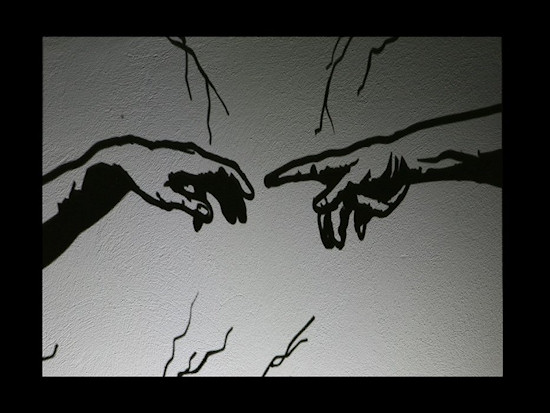 "Shadow Art by Teodosio Sectio Aurea of Michelangelo's fresco ""Creation of Adam"""