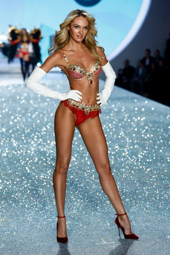 Candice Swanepoel wearing the $10 Million Dollar Royal Fantasy Bra @ Victoria's Secret Fashion Show 2013