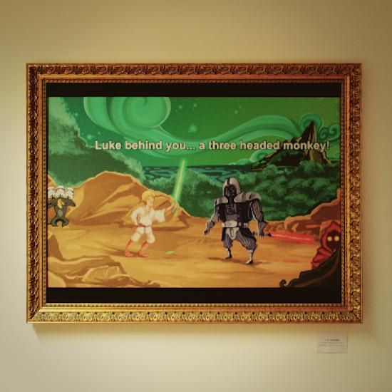 "Monkey Island: Luke behind you ... a three headed monkey! ""Wie passend, du kämpfst wie eine Kuh."" (Monkey Island sword fight insult ""How appropriate. You fight like a cow."") by Liz Hanke @ We Love 8-Bit exhibition Vienna"