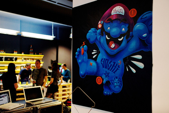 """The Plumber"" (Super Mario Yoshi) by Vidam @ We Love 8-Bit exhibition Vienna"