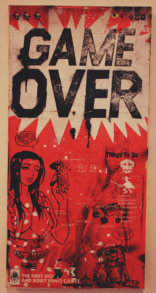 """Game Over"" artwork by Thomas Schostok. Joystick required ;P @ We Love 8-Bit exhibition Vienna"