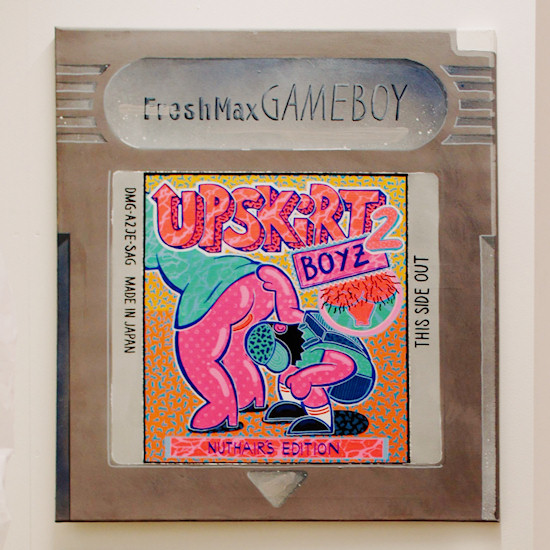 "Nintendo Game Boy cartridge ""Upskirt Boyz 2"" by Freshmax @ We Love 8-Bit exhibition Vienna"