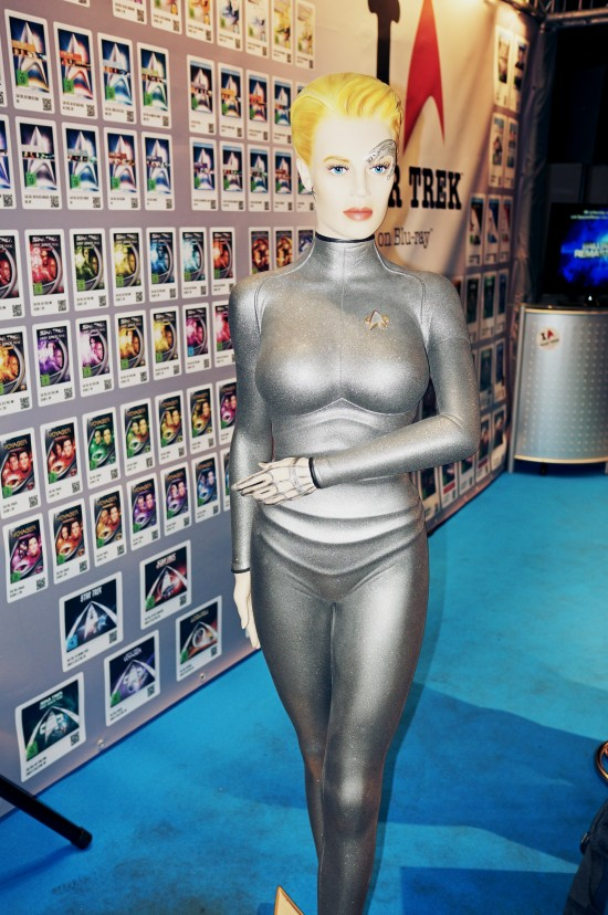 Paramount/CBS booth at the Destination Star Trek Germany convention with a life-size Seven of Nine figure