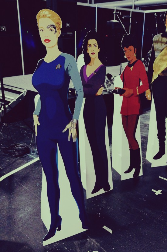Seven of Nine, Deanna Troi, and Uhura cardboard figures @ Destination Star Trek Germany Convention