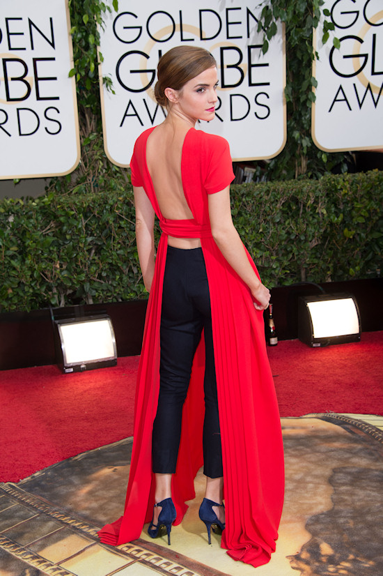 Emma Watson in a backless red dress by Dior @ Golden Globes 2014