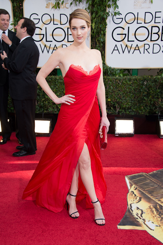 Kristen Connolly in a red dress by Lorena Sarbu @ Golden Globes 2014