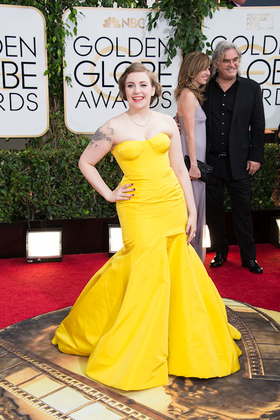 Lena Dunham in a yellow strapless gown by Zac Posen @ Golden Globes 2014