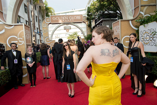 Lena Dunham's Back Tattoo @ Golden Globes 2014