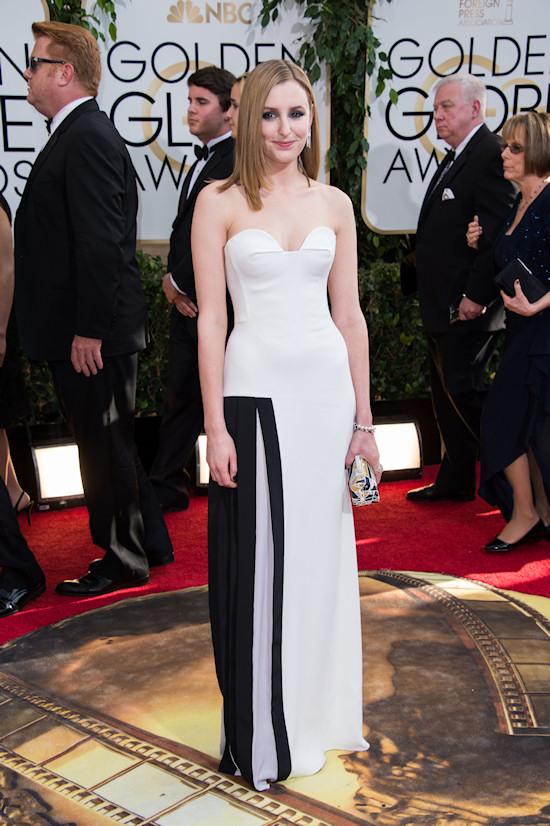 Laura Carmichael in white strapless dress with black stripes by Viktor & Rolf @ Golden Globes 2014
