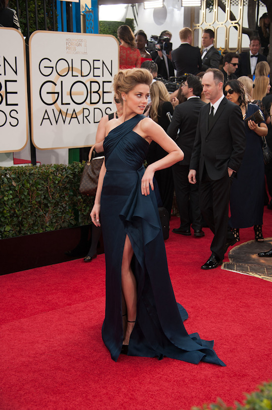 Amber Heard in a midnight blue high slit dress by Versace @ Golden Globes 2014