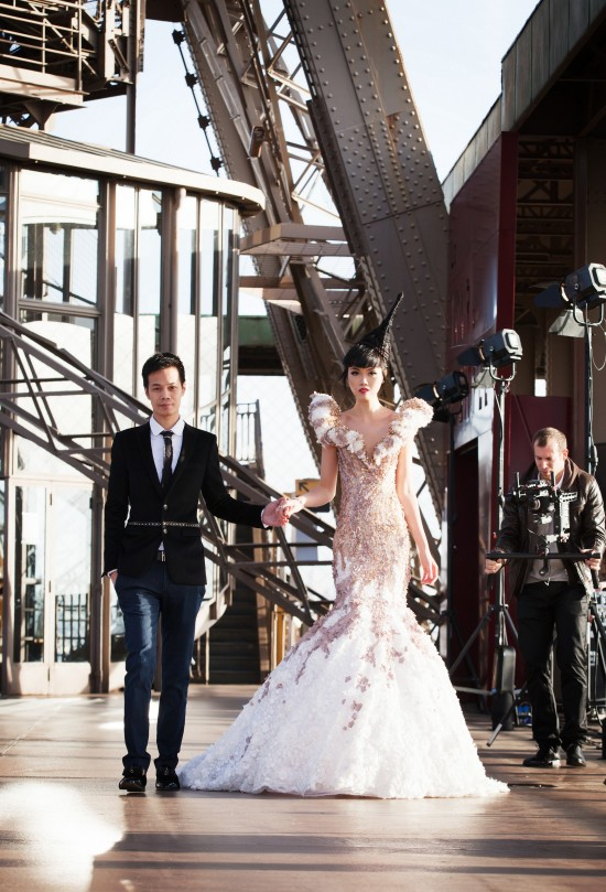 Jessica Minh Anh and fashion designer Hoang Hai @ J Fashion Show on the Paris Eiffel Tower