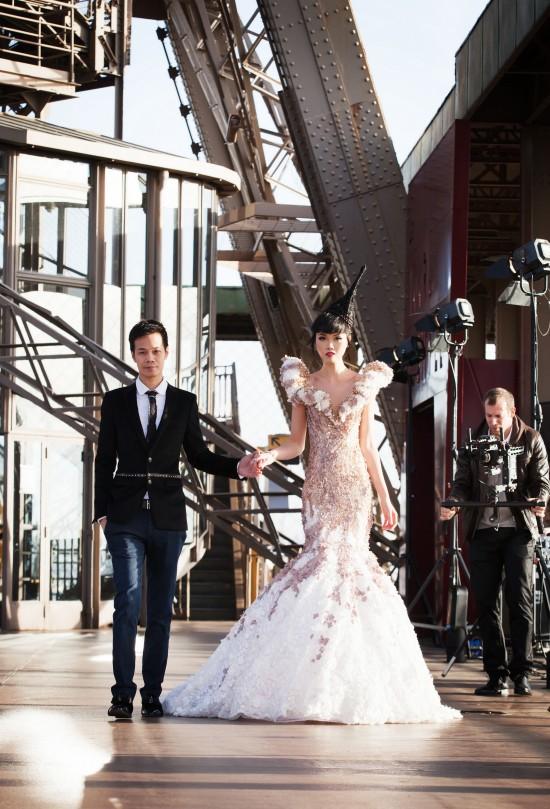 Jessica Minh Anh and fashion designer Hoang Hai @ J Fashion Show on the Paris Eiffel Tower
