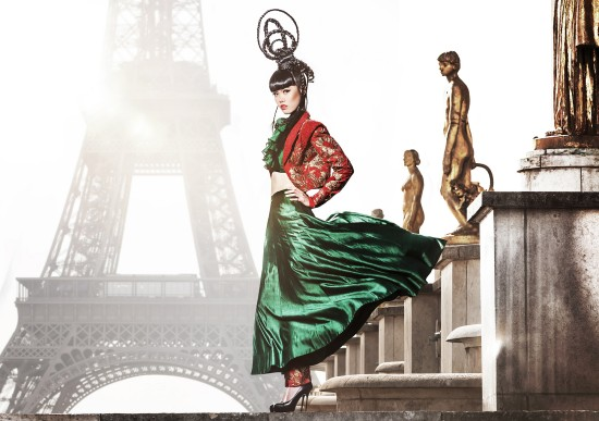 Jessica Minh Anh in a couture dress by Shilpa Reddy at the Eiffel Tower.